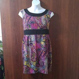 Fuchsia paisley sleeveless midi dress size 14